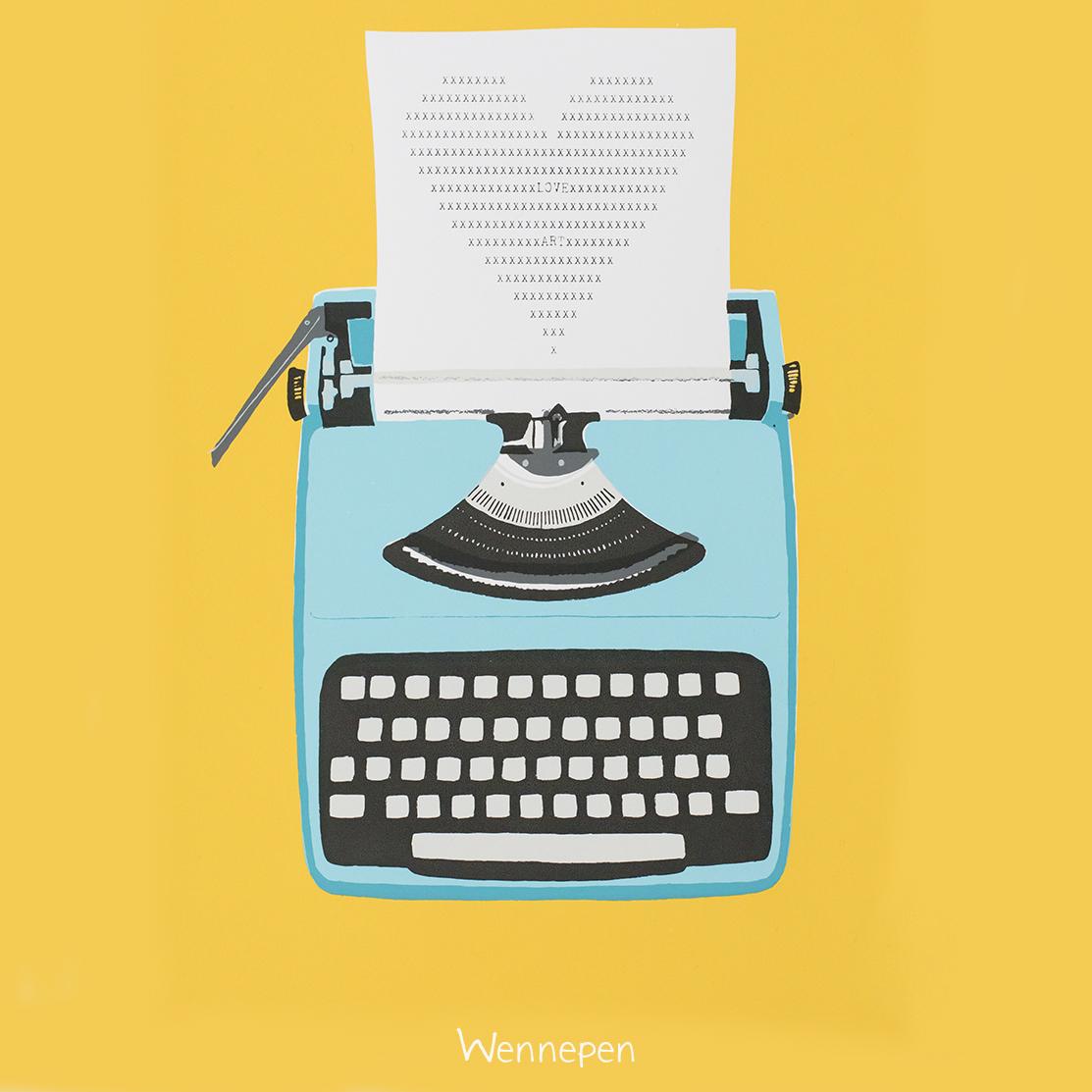zeefdruk typemachine